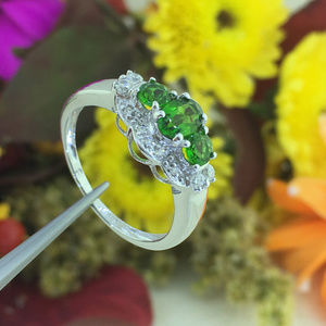 Ladies Oval Shape Emerald CZ Sterling Silver Ring